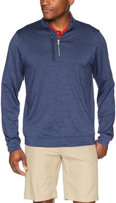 Cutter & Buck Men's Moisture Wicking Drytec Heathered Stealth Half Zip Pullover