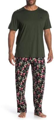 Tommy Bahama Floral Holiday Leaves T-Shirt & Pants Pajama Set