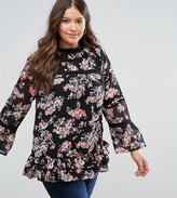 Koko Plus Top With Frill Sleeves And Peplum In Floral Print