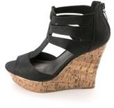 G by Guess Women's Dart T-strap Platform Wedge Sandals, Black, Size 9.5.