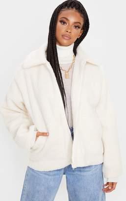 PrettyLittleThing Grey Borg Zip Up Oversized Jacket