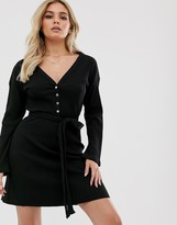 Asos Design DESIGN super soft long sleeve belted rib mini dress in Black