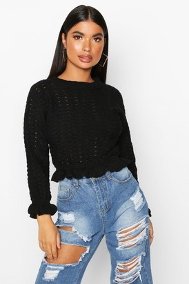 boohoo Petite Textured Frill Hem Knitted Sweater