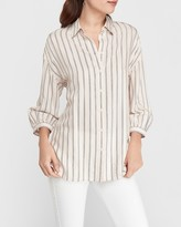 Express Oversized Striped Boyfriend Shirt