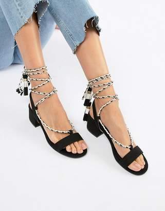 Qupid Tie Leg Mid Heeled Sandals-Black