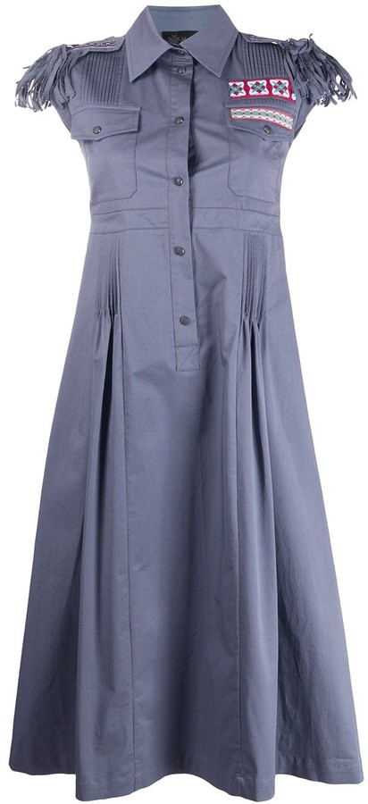 Mr & Mrs Italy Embroidered Detail Fringed Sleeve Shirt Dress