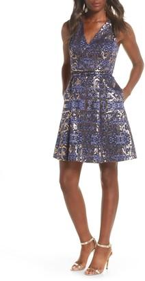 Vince Camuto Metallic Jacquard Sleeveless Fit & Flare Dress