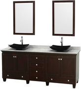 WYNDHAM COLLECTION Acclaim 80 inch Double Bathroom Vanity with WhiteCarrera Marble Countertop and Arista Black GraniteSinks