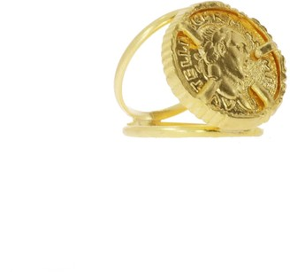 Ottoman Hands Gold Coin Double Band Cocktail Ring