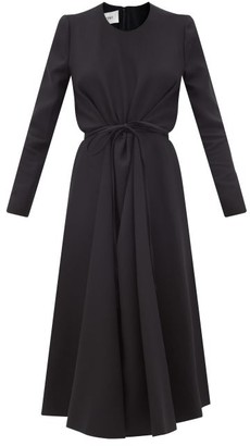 Valentino Tie-waist Wool-blend Crepe Dress - Black