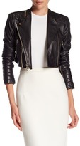 Alice + Olivia Fin Cropped Genuine Lamb Leather Jacket