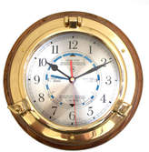 "Bey-Berk 9.5"" Porthole Time and Tide Wall Clock"
