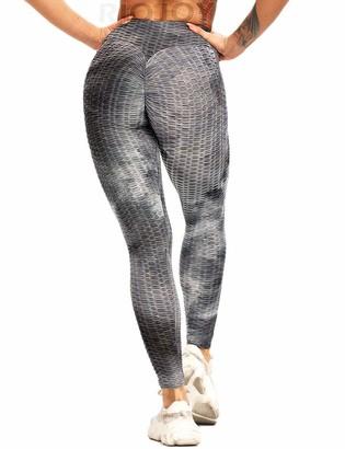 RIOJOY Butt Scrunch Waffle Gym Leggings Women Honeycomb Anti-Cellulite Tie-dye Fitness Leggings