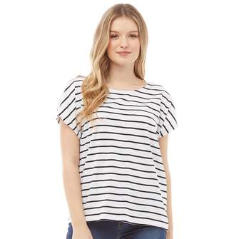 Board Angels Womens Yarn Dyed Striped Jersey Top White/Black