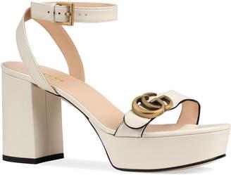 Gucci Marmont Ankle-Wrap Platform Sandals
