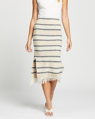 Atmos & Here Atmos&Here - Women's Neutrals Midi Skirts - Eden Knit Skirt - Size S at The Iconic