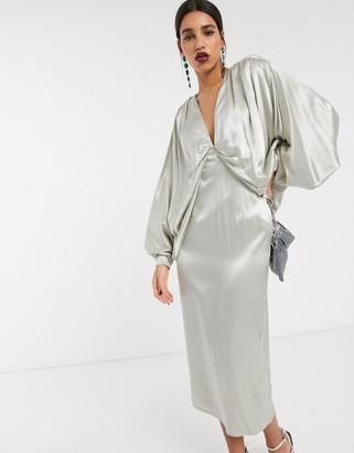 Asos Edition EDITION extreme kimono sleeve midi dress-Green