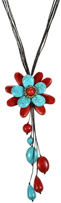 Aeravida Handmade Cute Red Coral-Turquoise Floral Wonder Dangle Necklace