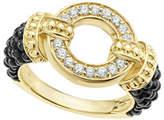 Lagos Circle Game Black Ceramic Ring with Diamonds, Size 7