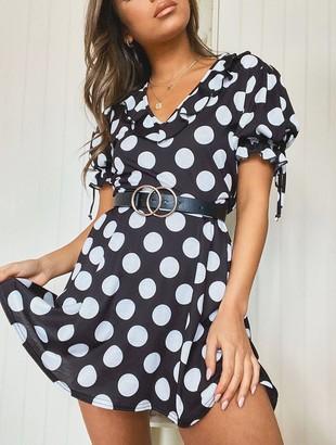 boohoo Polka Dot Tie Sleeve Detail Tea Dress