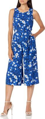 Nine West Women's Printed Crepe Belted Crop Jumpsuit