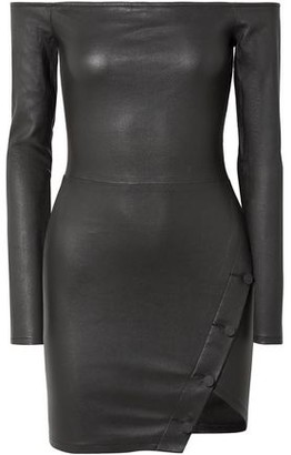 RtA Electra Off-the-shoulder Stretch-leather Mini Dress