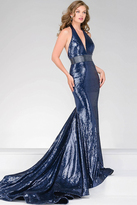 Jovani Long Sequin Prom Dress With Halter Neck 45203