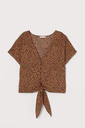 H&M V-neck tie-hem blouse