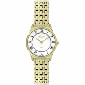 Rotary Ladies/Women's Gold Plated Ultra Slim Quartz/Battery Watch on Bracelet with Mother of Pearl Dial & Roman Numerals. LB08002/01.