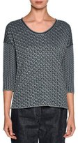 Giorgio Armani Reversible Leopard-Print 3/4-Sleeve Sweater, Dark Gray