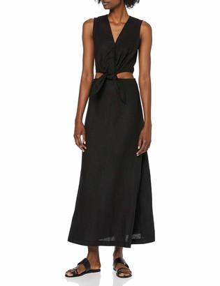 Warehouse Women's Tie Front Cutout Midi Linen Dress