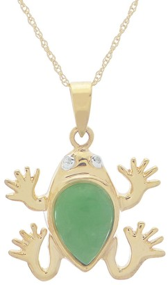 Pearlustre By Imperial Gems For You 18 Inch 10k Yellow Gold Jade Frog Pendant with Diamond Accent