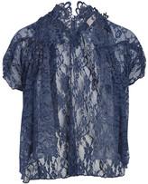 Pretty Angel Women's Boleros BLUE(BL) - Blue Lace Silk-Blend Open Cardigan - Women