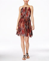Thalia Sodi Printed Halter Chain-Neck A-Line Dress, Only at Macy's