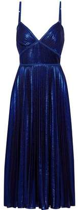 Marchesa Lace-trimmed Pleated Lame Midi Dress