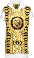 Versace Paneled Printed Jersey And Cotton-Blend Hooded Top