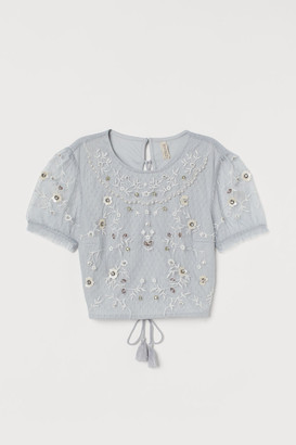 H&M Embellished Mesh Top - Turquoise
