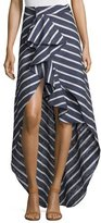Johanna Ortiz Ruffled Striped Pareo Skirt, Blue/White