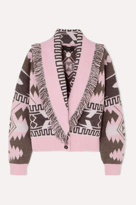 Alanui Icon Fringed Cashmere And Wool-blend Jacquard Cardigan - Pink