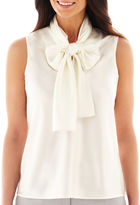 BLACK LABEL BY EVAN-PICONE Black Label by Evan-Picone Sleeveless Bow Blouse