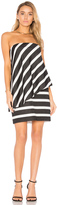 Halston Strapless Tiered Drape Stripe Dress