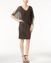 J Kara Overlay Rhinestone Sheath Dress