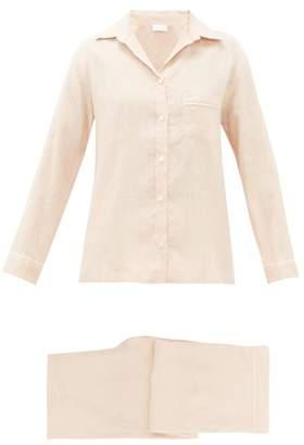 Pour Les Femmes - Pipe-trim Wide-leg Linen Pyjamas - Womens - Mid Pink