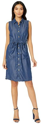 Calvin Klein Sleeveless Button Front Elastic Waist Denim Dress (Blue) Women's Dress