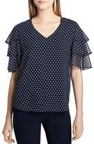 Calvin Klein Dot-Print Tiered-Sleeve Top
