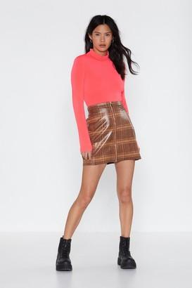 Nasty Gal Womens It Feels Good Plaid Skirt - Brown - L, Brown