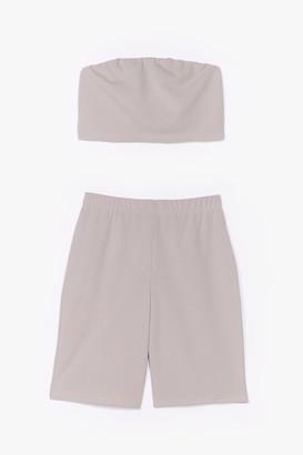 Nasty Gal Womens Hello Friday Bandeau Crop Top and Biker Shorts Set - Grey