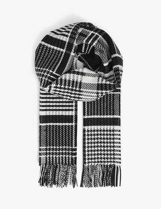 Johnstons Patchwork checked personalised cashmere scarf