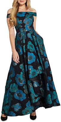 Adrianna Papell Draped Organza Jacquard Gown
