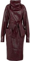Wanda Nylon - Textured-vinyl Funnelneck Midi Dress - Burgundy